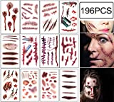 zombie supplies - Halloween Scar Tattoos Temporary - Zombie Party Supplies Cosplay Props - Realistic Bloody Makeup Face Decorations Fake Injury Wound for Halloween Costume(24 Sheets)