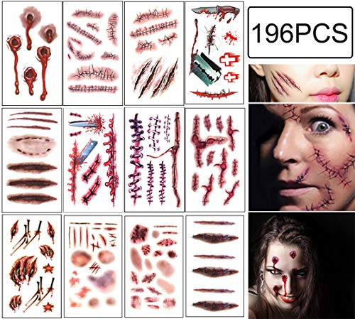 Halloween Scar Tattoos Temporary - Zombie Party Supplies Cosplay Props - Realistic Bloody Makeup Face Decorations Fake Injury Wound for Halloween Costume(24 Sheets)]()