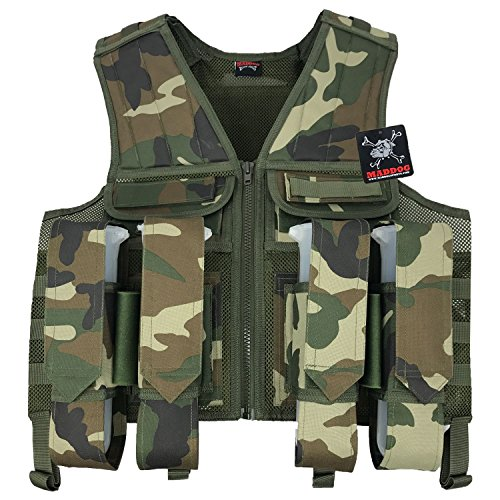 Maddog Tactical Paintball Battle Vest - Woodland Camo Tank Harness Camo