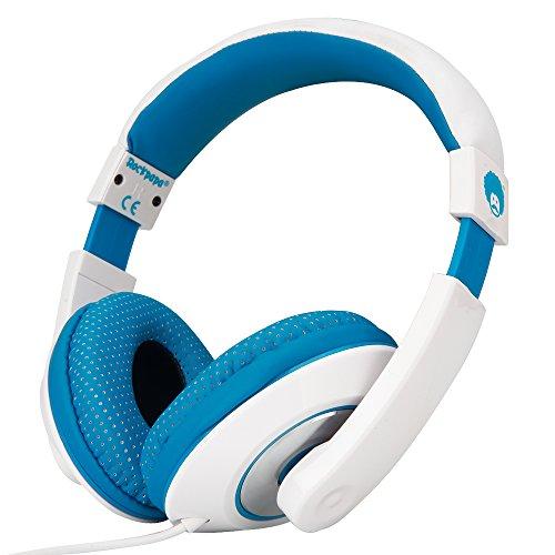 Rockpapa 782 DJ Style Stereo Headphones Adjustable Headband 3.5mm for Cellphones Ipod Ipad Iphone Laptop Computer Mp3/4 Tablets Earphones (White/Blue) ()