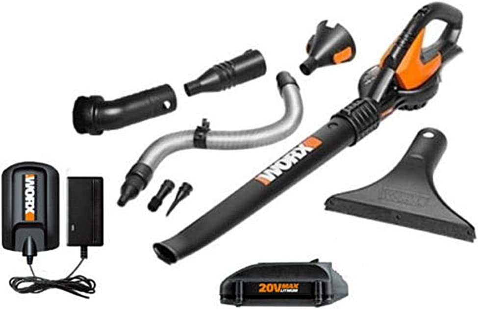 Worx 20V Max Lithium Blower Sweeper with 8 Attachments 4.0 Battery