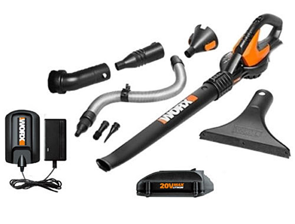 WG545.1 Worx 20V Max Lithium Blower/Sweeper with 8 Attachments by Worx