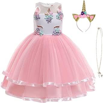URAQT Disfraz Unicornio Niña, Vestidos Unicornio Niña, Disfraz de Princesa, para Fiesta de Cosplay, Boda, Partido,Vestido De Princesa …
