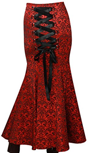(XS-XXL) Shimmery Queen - Red Long Maxi Flare Corset Gothic Fishtail Victorian Vintage Style Skirt (London Business School Halloween Party)