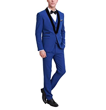 1117bed58b Botong Black Lapel Royal Blue Men Suits Jacket Pants Vest Wedding Suits at  Amazon Men's Clothing store: