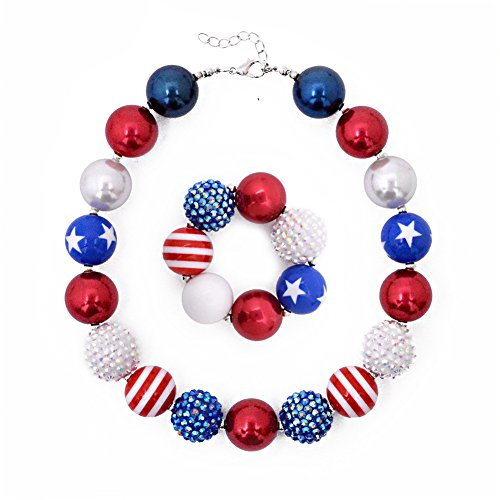 CDoys Dress Up Jewelry for Little Girls Kids Necklaces Fashion Girls Chunky Beads Bubblegum Necklace and Bracelet Set Red White Diamond Bead Set ()