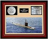 Navy Emporium USS Flying Fish SSN 673 Framed Navy Ship Display Burgundy