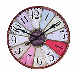 Creative Co-op 29-Inch Vintage Fleur De Lis French Country Tuscan Style Paris Wall Clock, Large