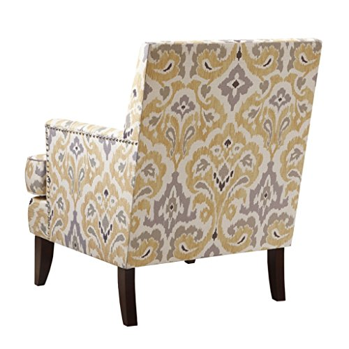 Madison Park MCC100-0001 Colton Accent Hardwood, Brich Wood, Damask Print, Bedroom Lounge Mid Century Modern Deep Seating, High Back Club Style Arm-Chair Living Room Furniture