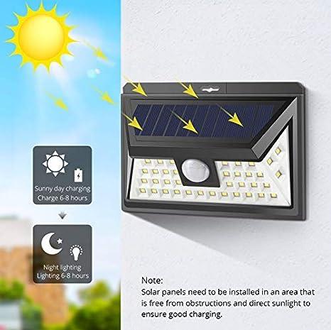 Lámpara solar LED Sensor de movimiento PIR luz nocturna Seguridad ...