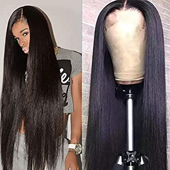 Image of Health and Household Abijale Brazilian Straight Hair Lace Front Wigs For Black Women Human Hair With Baby Hair 13×4 Lace Front Wigs 150% Density 100% Unprocessed Virgin Human Hair (26inch)
