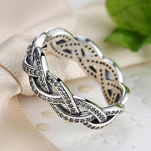 Everbling Crossing Lines 925 Sterling Silver Stackable Ring Clear CZ