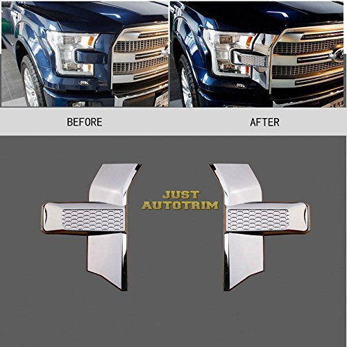 2PCS Front bumper headlight&grille Chrome Cover trim for 2015+ Ford F150 Accessories from Aspeike
