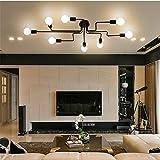 RUXUE Black Industrial Modern Semi Flush Ceiling Light 8 Lighs Pendant Lights Fixture For Sale
