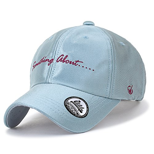 ililily Embroidered Baseball Cap Shiny Velvet Like Strapback Trucker Hat, Sky Blue