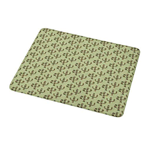 Mouse Pad Rubber Mousepad Cactus,Mexican Inspired Indigenous Foliage Abstract Chevron Nature Theme,Green Pistachio Green Caramel,Personality Desings Gaming Mouse Pad 9.8