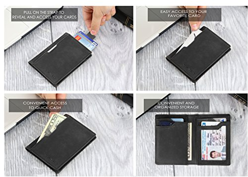Wallets for Men Slim Mens leather RFID Blocking Minimalist Card Front Pocket Bifold Travel Thin (Charcoal Black 5.0) by SERMAN BRANDS (Image #2)
