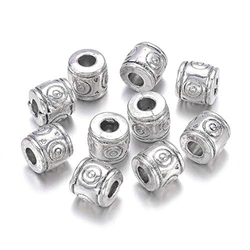 Barrel Charm - Kissitty 50pcs Antique Silver Alloy Tibetan Silver Barrel Beads 6x6.5mm Metal European Charms Beads fit Bracelet Jewelry Making Lead Free & Nickel Free & Cadmium Free 0.2x0.3