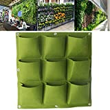 Wall Pocket Planter Bag, Sundarling 9 Pockets Wall Hanging Felt Planter Bags Wall Mount Planter Indoor Outdoor Planter Growing Bag (9 Pockets, Green)