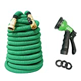 (Upgraded Platinum) Flex Garden Hose 3-time Expandable 3/4 in. x 150 ft. Double Layers Latex Core,Solid Brass Fittings,Wear-resistant Green High Tenacity Weaving Cover,8 Patterns Water Nozzle,All New