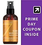 Seven Minerals Sore Muscles Magnesium Spray 4 Oz| Organic Blend Of Black Pepper, Orange & Sweet Marjoram Oils | For Joints, Cramps, Stiffness, Pain Relief, Improved Circulation, Fibromyalgia & More