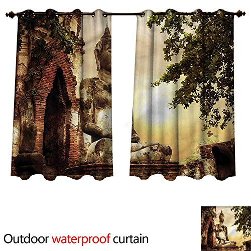 Sandstone Dining Sunbrella - cobeDecor Sculptures Outdoor Curtain for Patio Sandstone Figure Asia W55 x L72(140cm x 183cm)