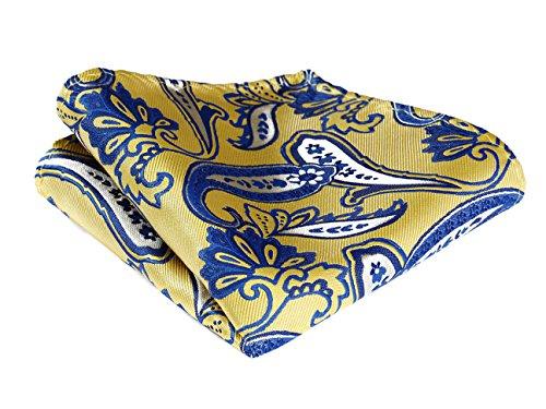 (HISDERN Men's Paisley Wedding Party Pocket Square Handkerchief ,Yellow & Blue,One Size)