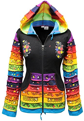 Women Rainbow Sleeved Flower Patch Hoodie ()