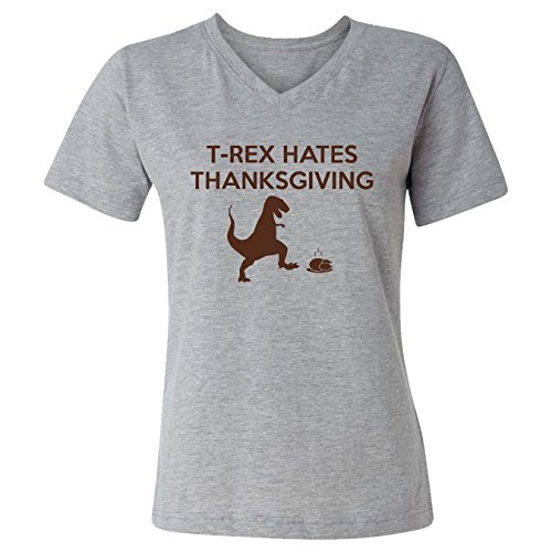 Mashed Clothing T-Rex Hates Thanksgiving Dino Kicks Turkey Funny Women's V-Neck T-Shirt (Heather Grey, 3XL) (Turkey V-neck Womens)