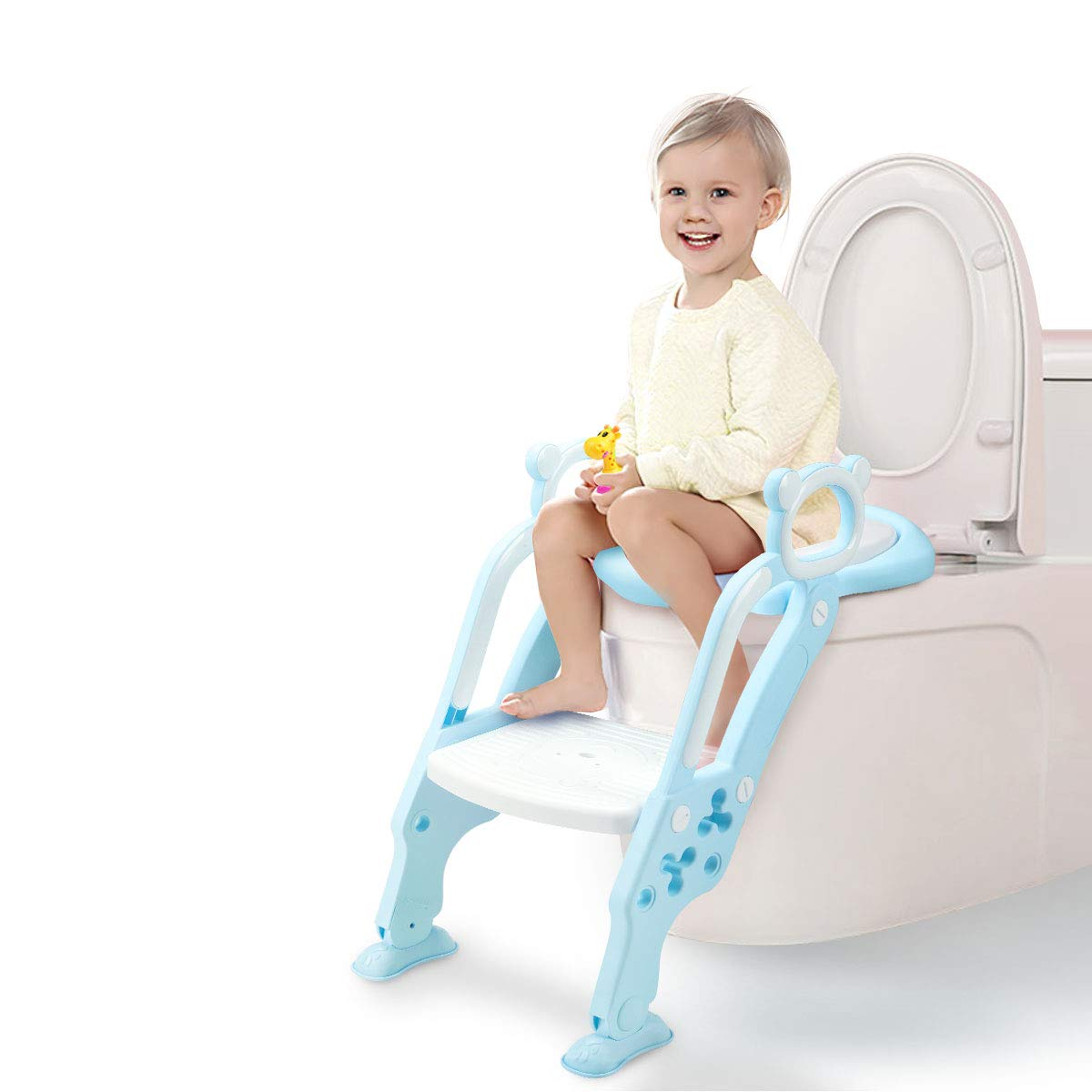GrowthPic Toddler Toilet Training Seat Ladder with Sturdy Non-Slip Wide Step and Soft Cushion for Boys and Girls