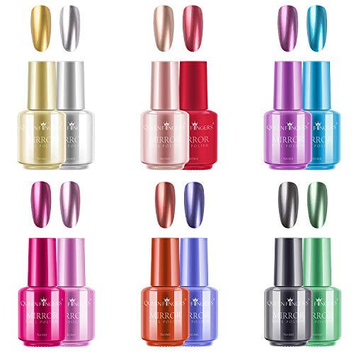 Ownest 12 Colors Nail Polish, Long Lasting Gorgeous Glossy Manicure Nail Art Decoration, Brilliant Mirror Effect Nail Lacquers Kit-12pcs