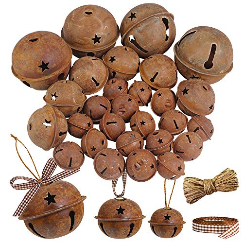 Winlyn 28 Pack Rusty Jingle Bells with Star Cutouts Christmas Sleigh Bells Rustic Metal Craft Bells Star Bells with Jute Rope Ribbon for Holiday Season Primitive Country Décor 3 Sizes 1.6