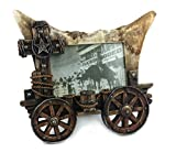 ''Go West'' Wagon Picture Frame with Star, Horseshoe and Cross, holds 4x6'' size picture, Hand-crafted metal, Hand-painted resin heirloom quality.
