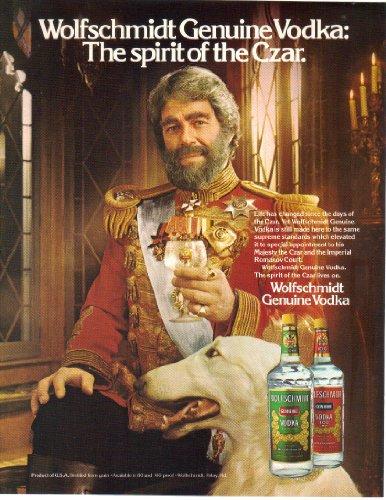 Wolfschmidt Vodka (Print Ad: 1979 Wolfschmidt Genuine Vodka 'The Spirit of the Czar')
