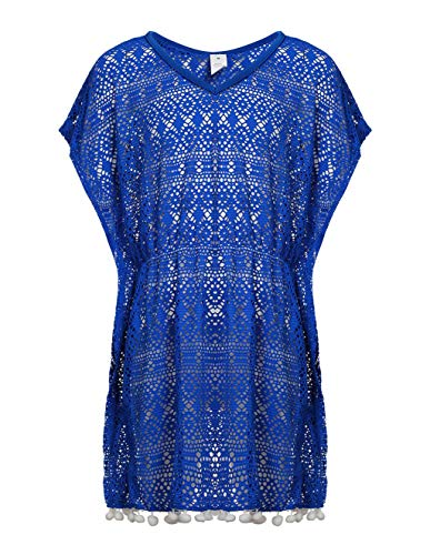 LEINASEN Girls' Cover-ups Swimsuit Beach Dress, V-Neck Crochet