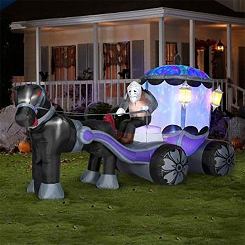 12' Light Effect Haunted Carriage Airblown Halloween Inflatable Gemmy Yard Decor - (Halloween Carriage)