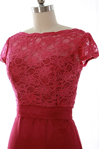 Cap Wedding Fuchsia Dress Elegant Gown Party with Long Bridesmaid MACloth Sleeve Jacket U45AwxqB
