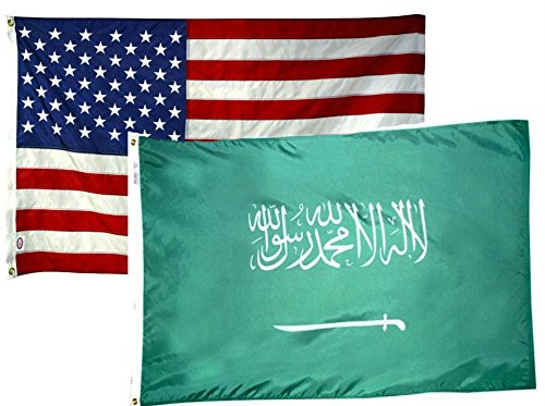 ALBATROS 2 ft x 3 ft 2x3 USA American with Saudi Arabia 2 Flags Flag for Home and Parades, Official Party, All Weather Indoors Outdoors