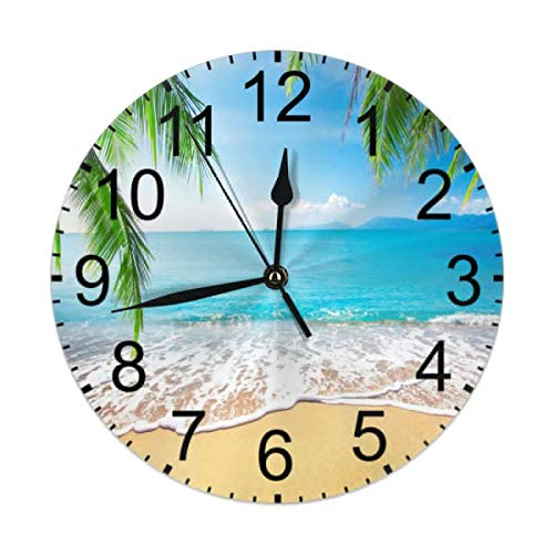 CCshopping Ocean Sand Beach Palm Tree Blue Sky Tropical 9.8 inches Round Wall Clock Silent Non Ticking, Battery Operated Wall Clocks 9.8 inches