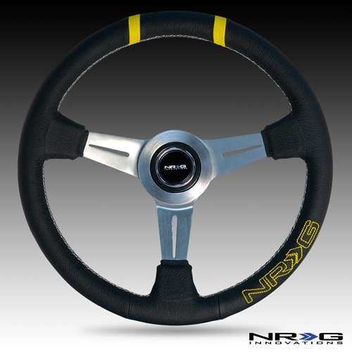 NRG Innovations ST-028BK-Y 360mm Bumble Bee Sport Wheel-Blk Leather w//Double YLW Center Mark