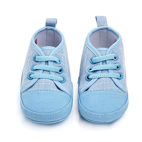 Sufancy Baby Boys Girls Premium Soft Anti-Slip Sole High Top Sneaker Newborn Infant First Walkers Canvas Denim Shoes Blue 0-6 Months