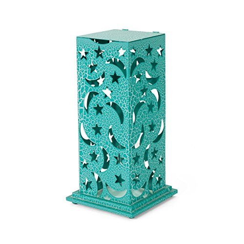 Great Deal Furniture 304272 Rovien Outdoor 23 Inch Iron Cutout Lantern, Crackle Teal