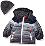 London Fog Baby Boys Color Blocked Puffer Jacket Coat with Hat,Navy Solid,18MO