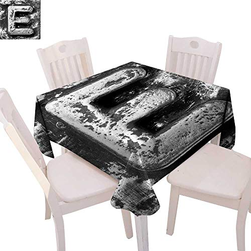 Letter E Patterned Tablecloth Aluminum Colored Decayed Uppercase E Alphabet Character Nostalgic Medieval Initials Dust-Proof Tablecloth 60