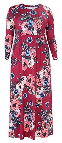 Delcoce 3/4 Des Femmes De Manches Maxi Imprimé Floral Robes De Soirée Taille Plus Avec Des Poches Vin Rouge