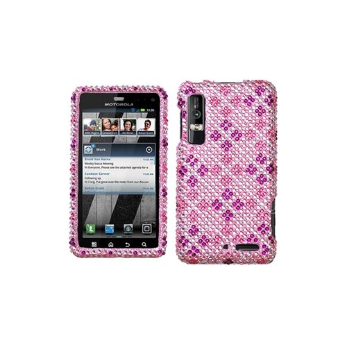 Asmyna MOTXT862HPCDM184NP Luxurious Dazzling Diamante Case for Motorola Droid 3 XT862 - 1 Pack - Retail Packaging - Plaid Hot Pink/Purple ()