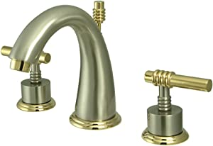 "Nuvo Elements of Design ES2969ML Milano 8"" to 16"" 2-Handle Widespread Lavatory Faucet with Brass Pop-Up, 5-1/2"", Brushed Nickel/Polished Brass"