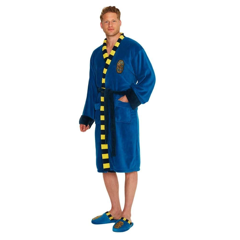 56c197704f Amazon.com  Official Navy Blue Classic Superman Logo Adult Fleece Dressing  Gown Bathrobe  Home   Kitchen
