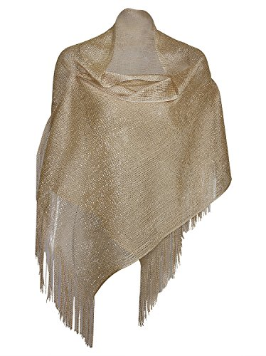 Vijiv Women's 1920s Gatbsy Vintage Shawl Wrap For Bridal Prom Wedding Party Evening Dresses Vintage Gold Sparkle