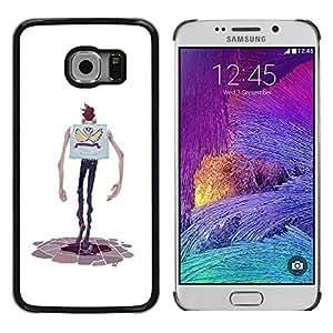 rígido protector delgado Shell Prima Delgada Casa Carcasa Funda Case Bandera Cover Armor para Samsung Galaxy S6 EDGE SM-G925 /Cartoon Character Hands Skinny Man Skull/ STRONG